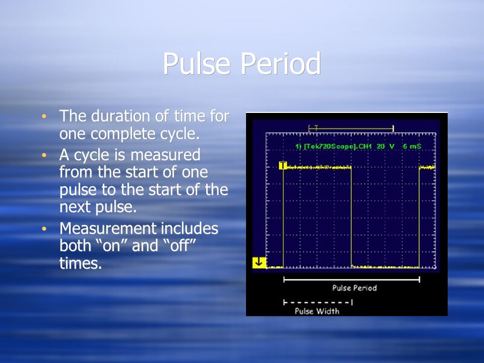 Pulse Period The duration of time for one complete cycle.