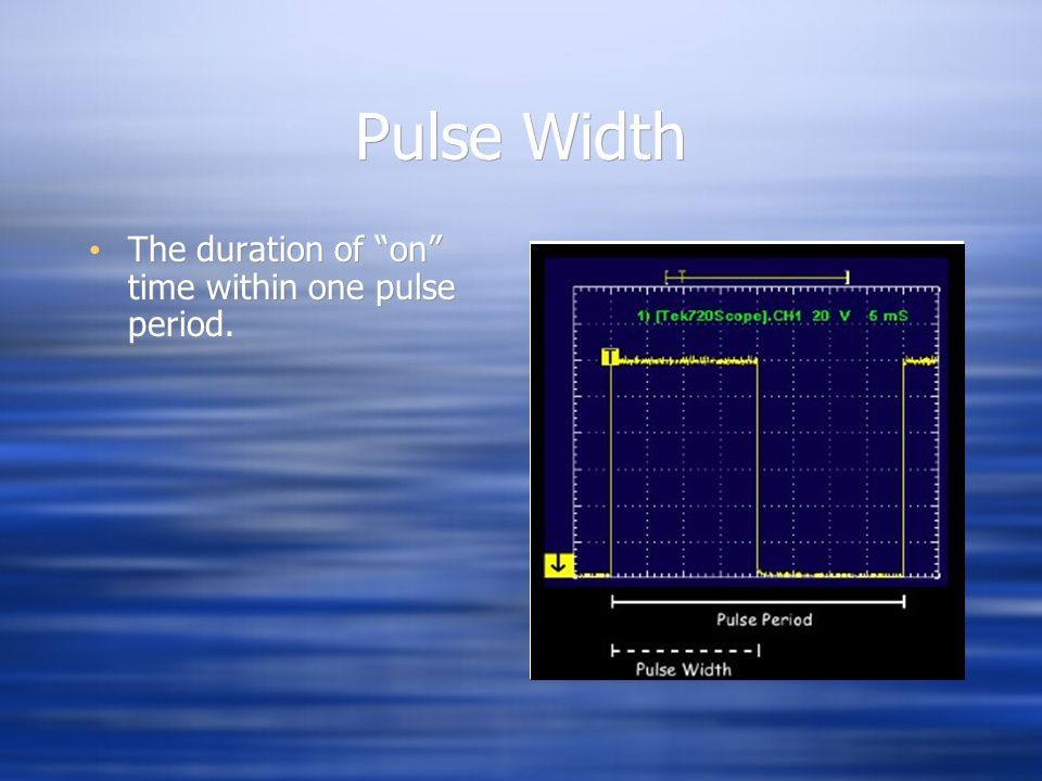 Pulse Width The duration of on time within one pulse period.