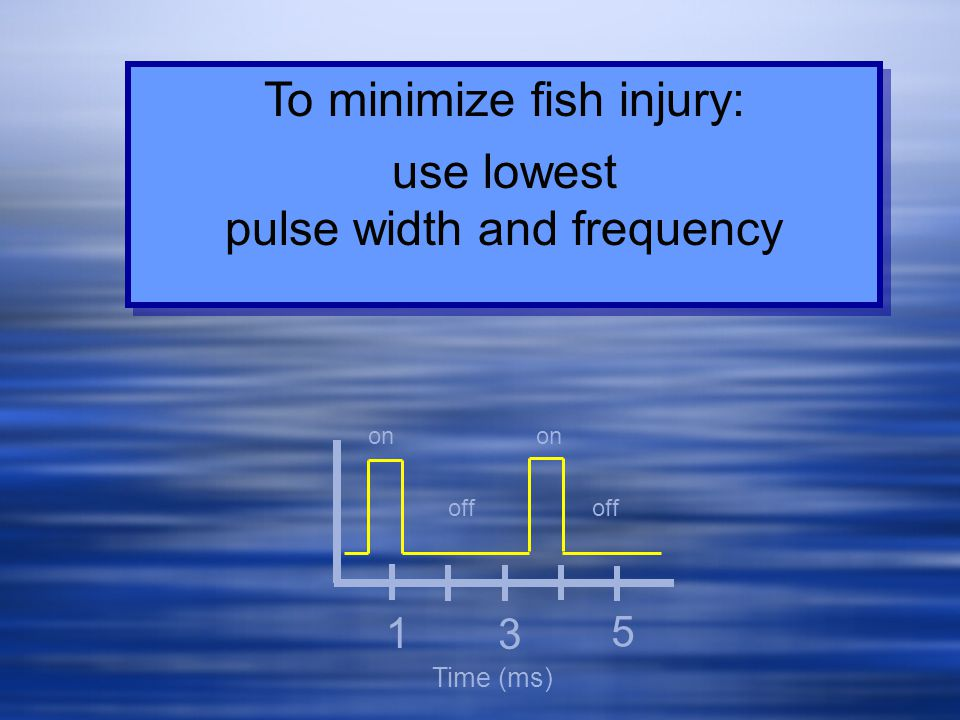 To minimize fish injury: use lowest pulse width and frequency