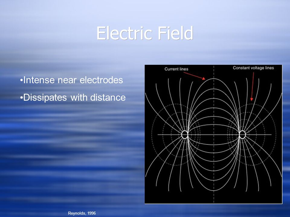 Electric Field Intense near electrodes Dissipates with distance
