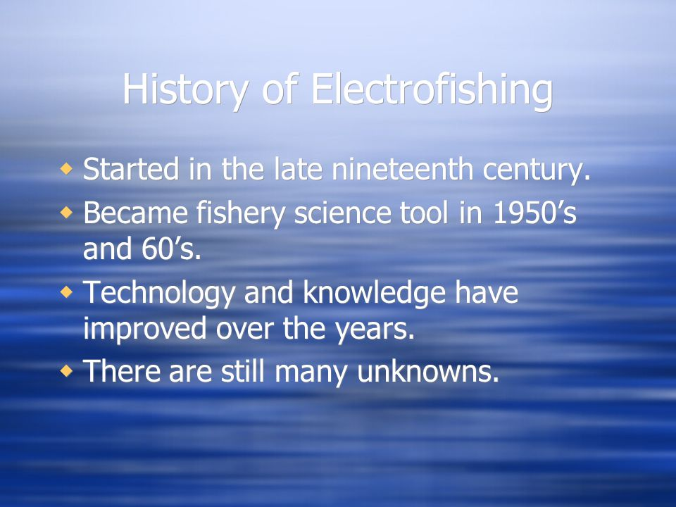 History of Electrofishing