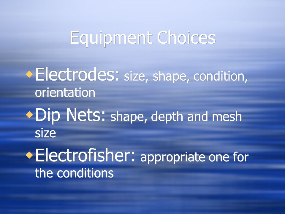 Equipment Choices Electrodes: size, shape, condition, orientation. Dip Nets: shape, depth and mesh size.