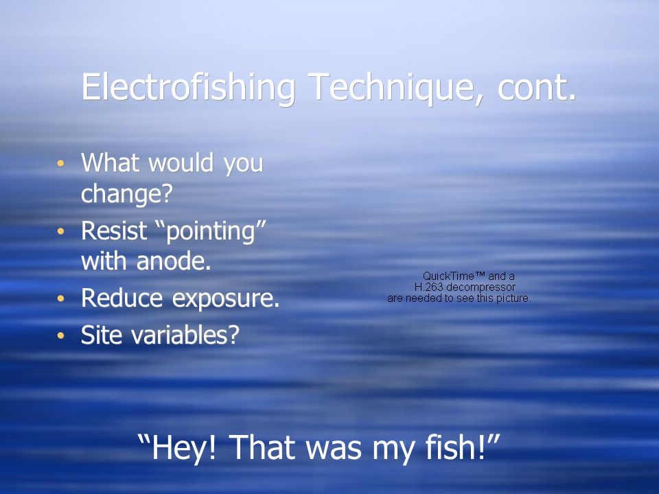 Electrofishing Technique, cont.