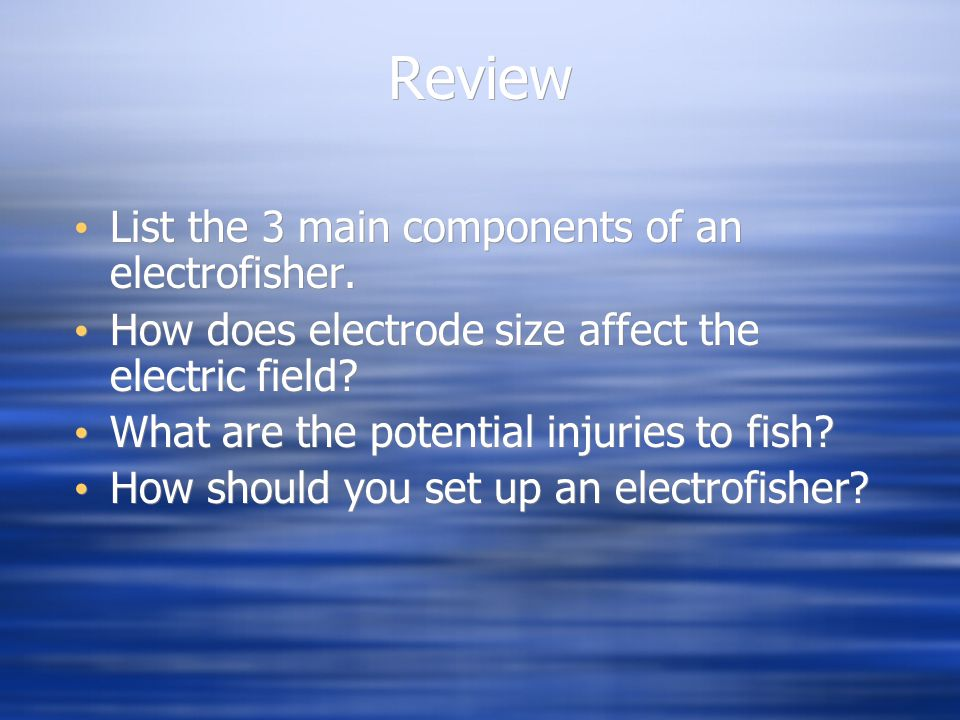 Review List the 3 main components of an electrofisher.