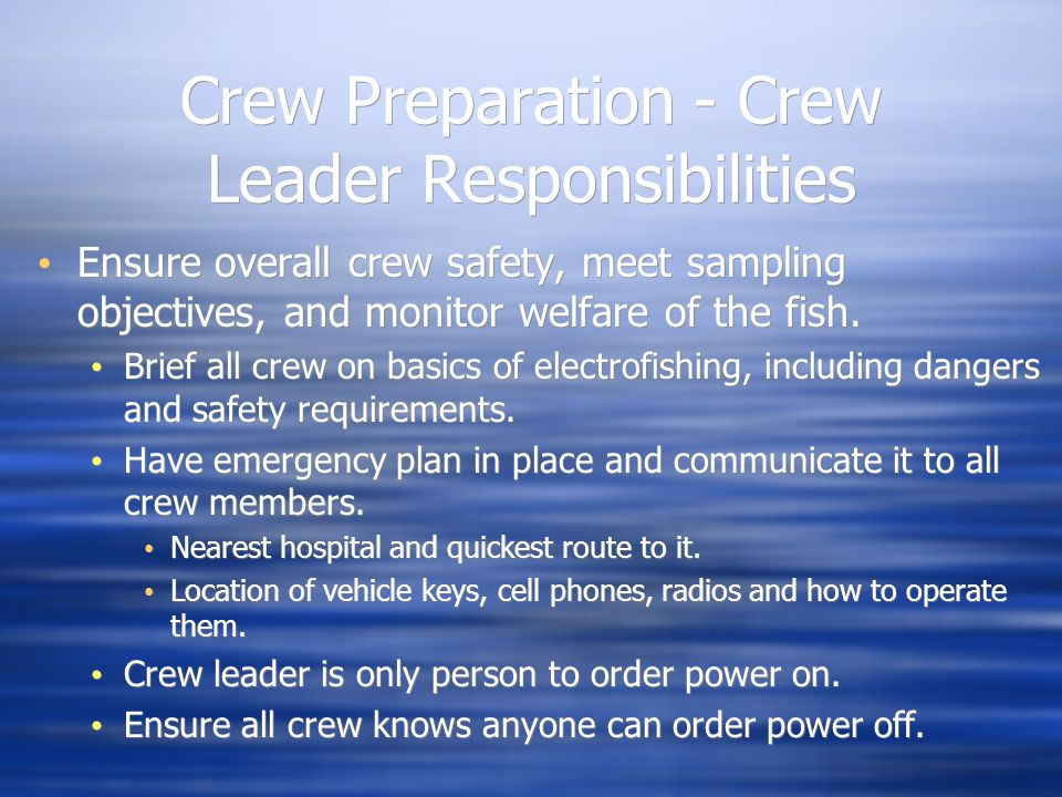 Crew Preparation - Crew Leader Responsibilities