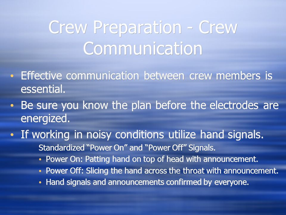 Crew Preparation - Crew Communication