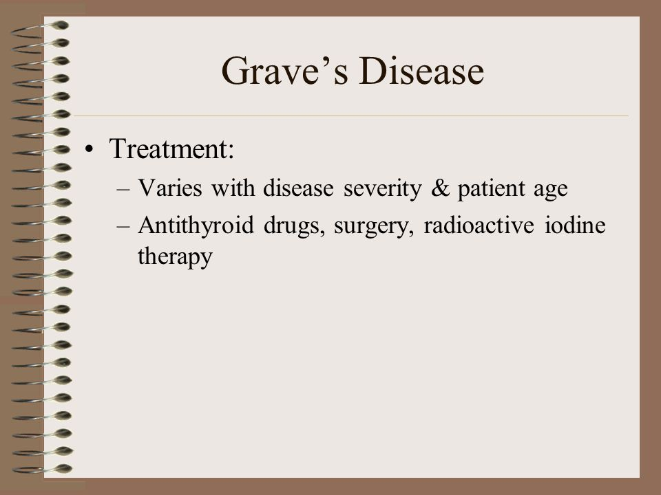 Grave's Disease Treatment: Varies with disease severity & patient age