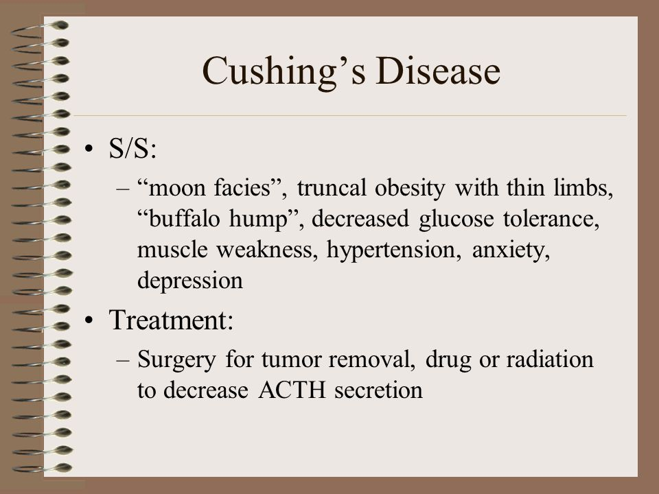 Cushing's Disease S/S: Treatment: