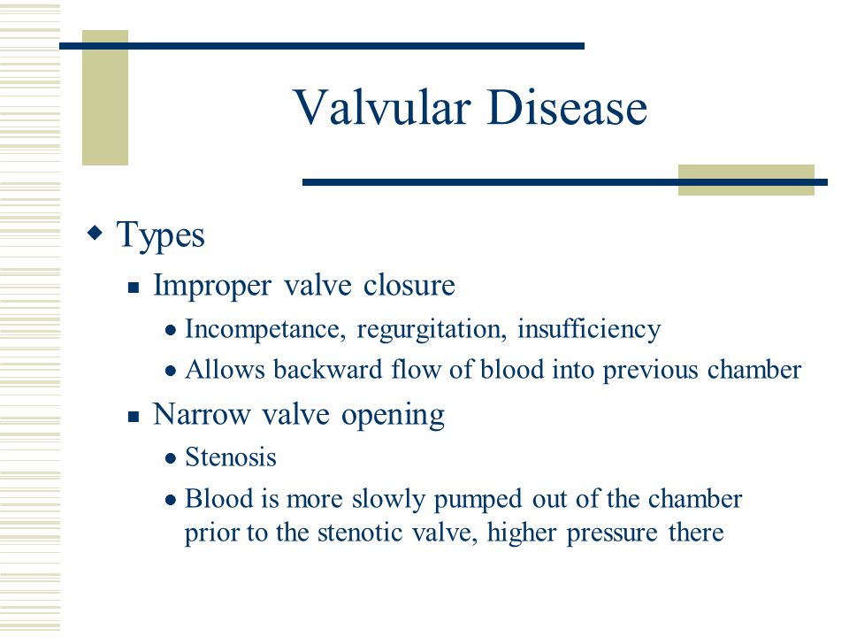 Valvular Disease Types Improper valve closure Narrow valve opening