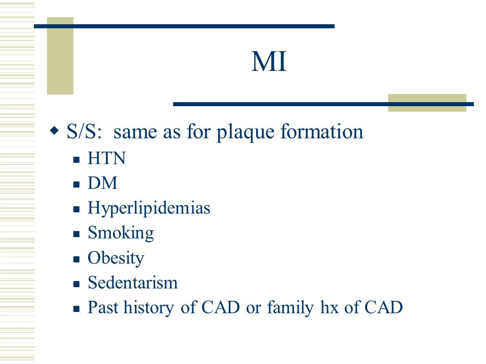 MI S/S: same as for plaque formation HTN DM Hyperlipidemias Smoking