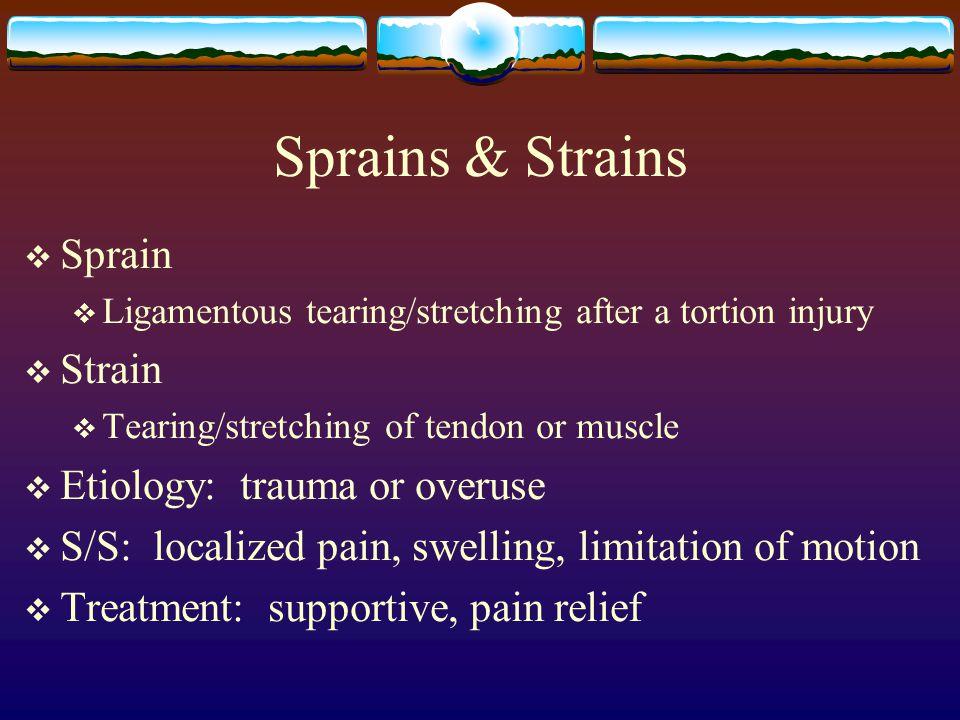 Sprains & Strains Sprain Strain Etiology: trauma or overuse