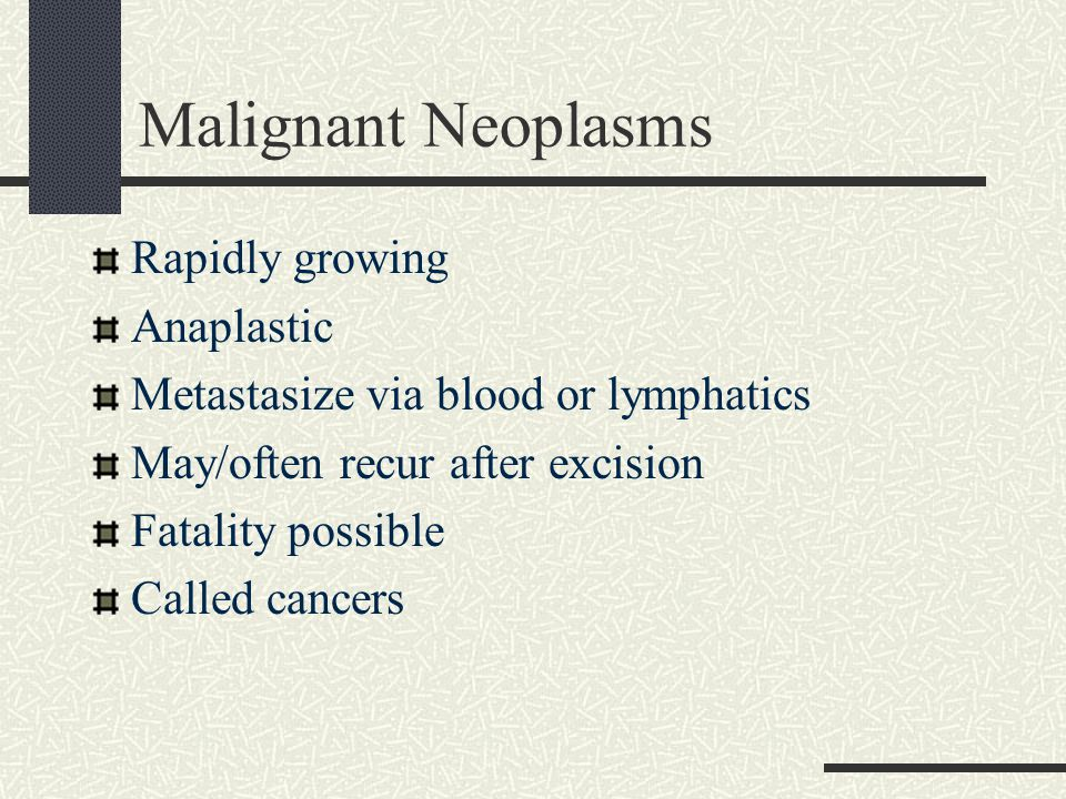 Malignant Neoplasms Rapidly growing Anaplastic