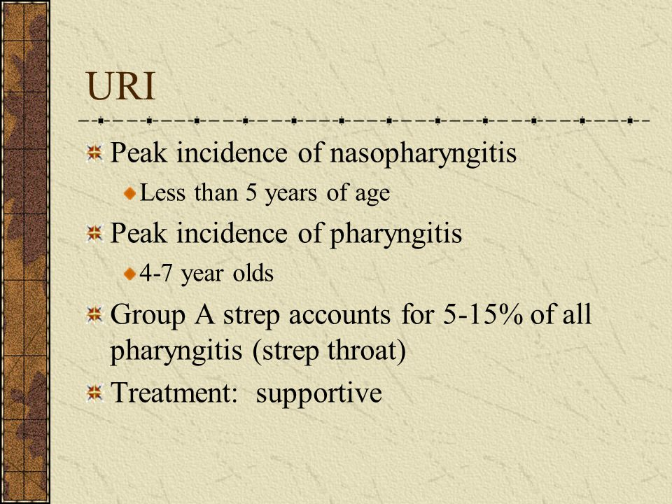 URI Peak incidence of nasopharyngitis Peak incidence of pharyngitis
