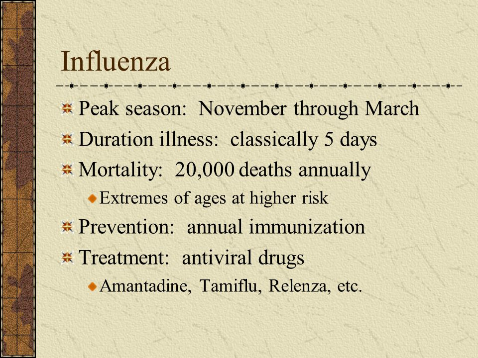 Influenza Peak season: November through March