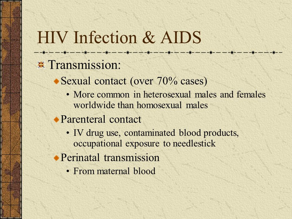 HIV Infection & AIDS Transmission: Sexual contact (over 70% cases)