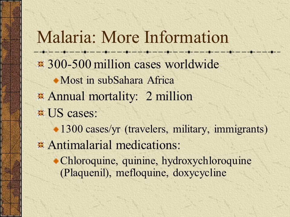 Malaria: More Information