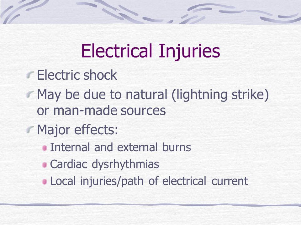 Electrical Injuries Electric shock