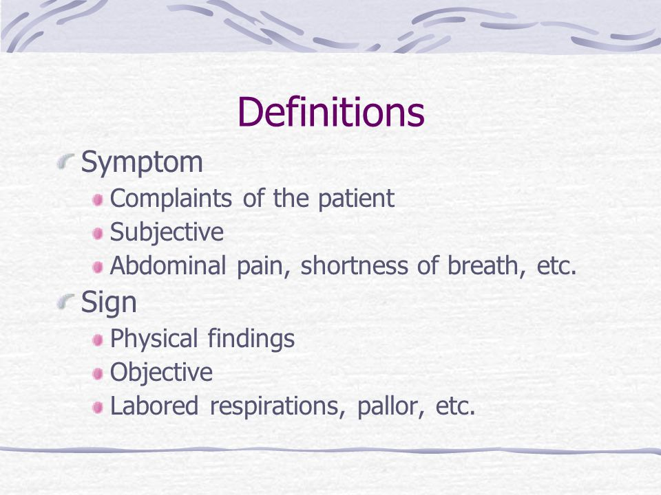 Definitions Symptom Sign Complaints of the patient Subjective