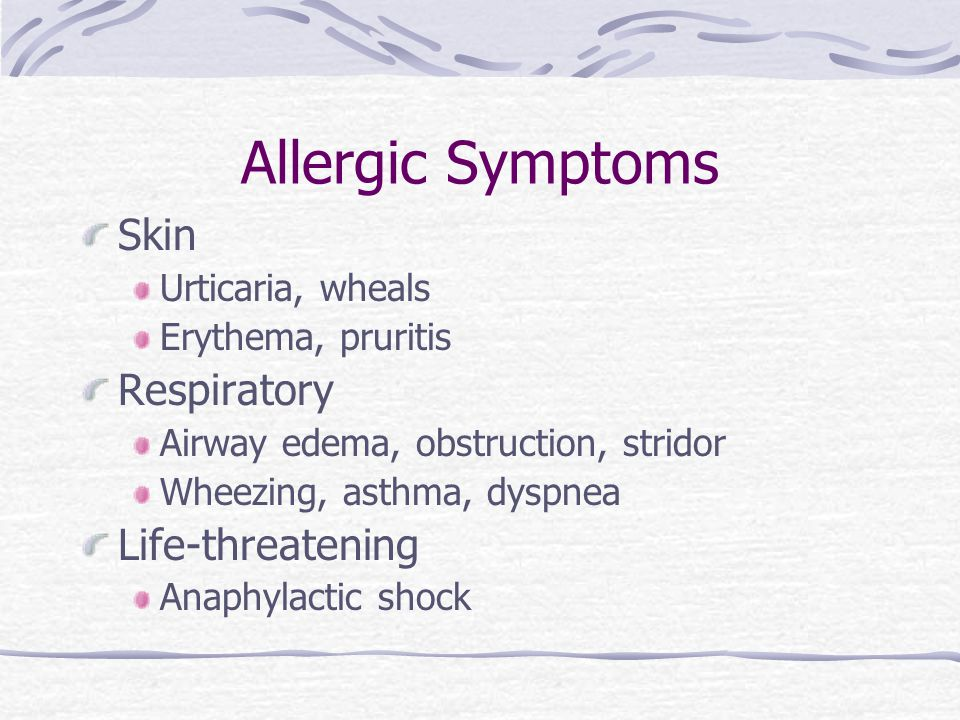 Allergic Symptoms Skin Respiratory Life-threatening Urticaria, wheals