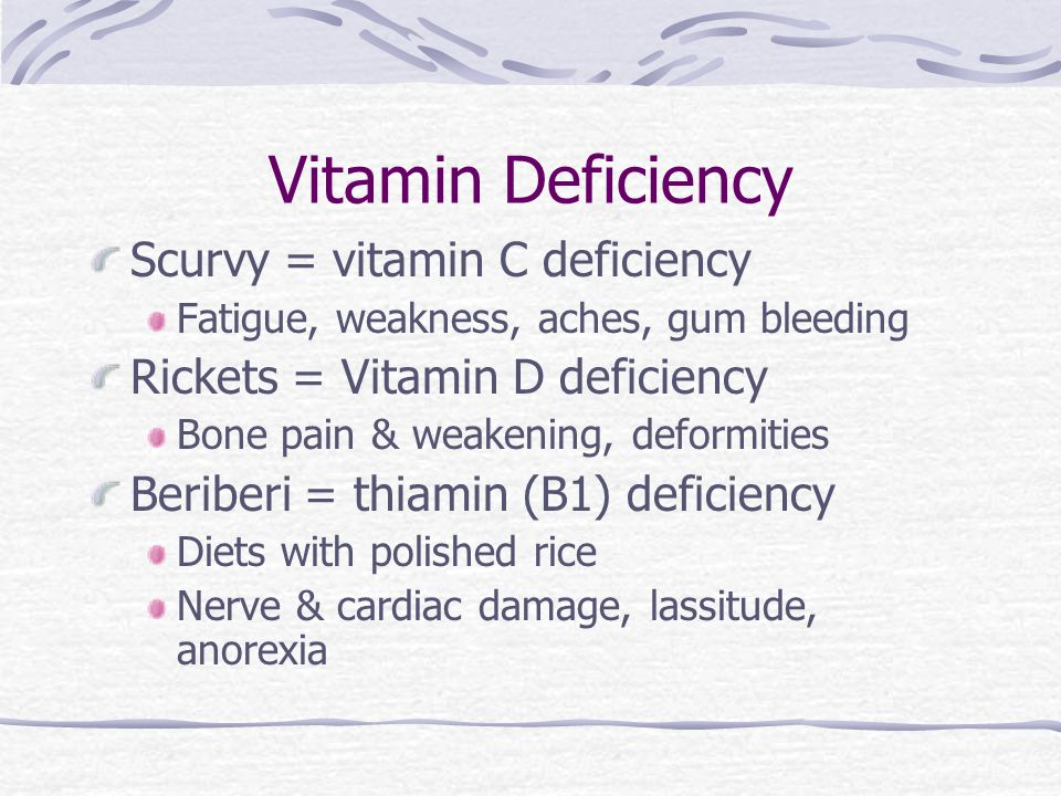 Vitamin Deficiency Scurvy = vitamin C deficiency