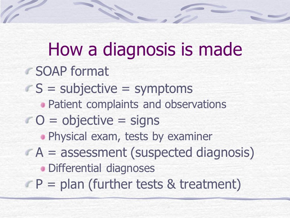 How a diagnosis is made SOAP format S = subjective = symptoms
