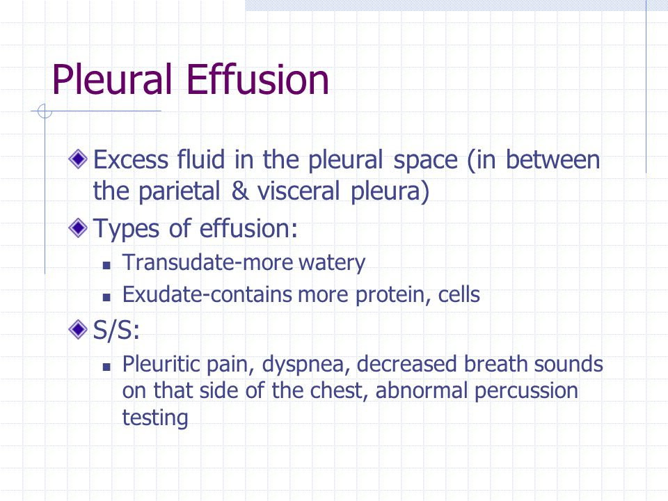 Pleural Effusion Excess fluid in the pleural space (in between the parietal & visceral pleura) Types of effusion:
