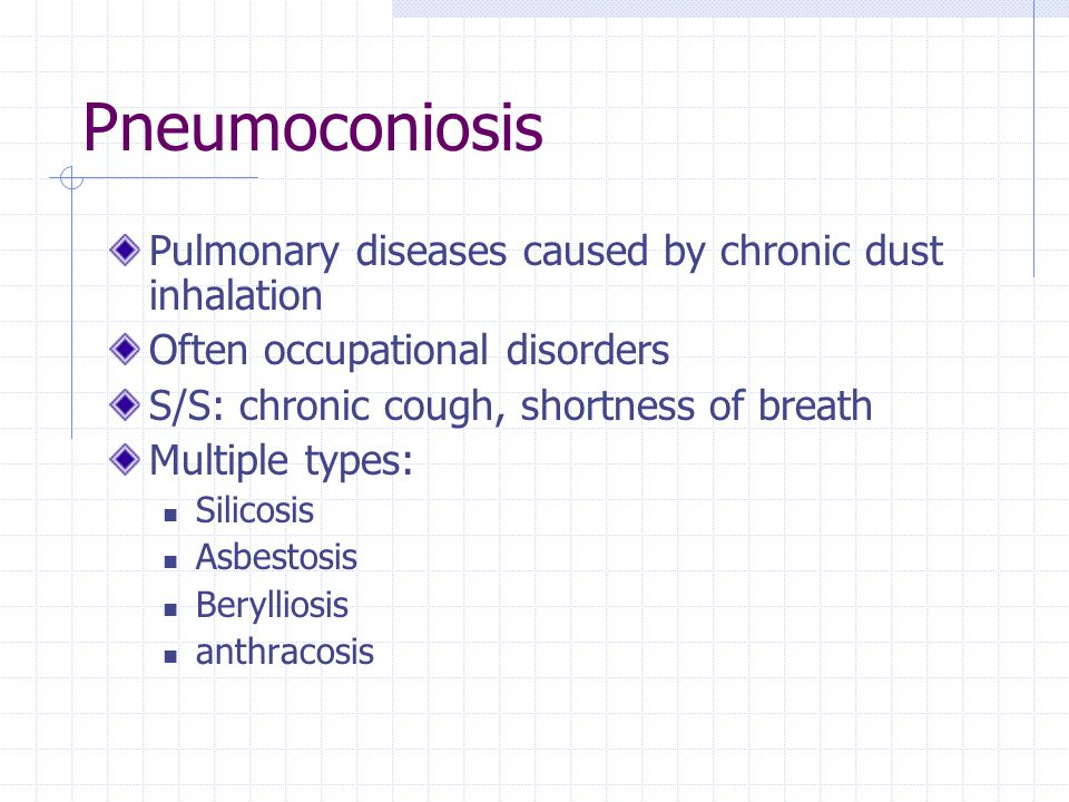 Pneumoconiosis Pulmonary diseases caused by chronic dust inhalation