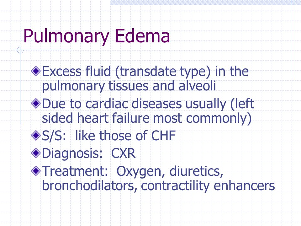 Pulmonary Edema Excess fluid (transdate type) in the pulmonary tissues and alveoli.