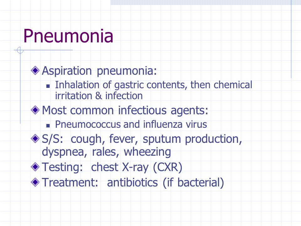 Pneumonia Aspiration pneumonia: Most common infectious agents: