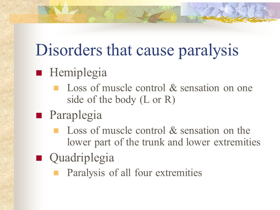 Disorders that cause paralysis