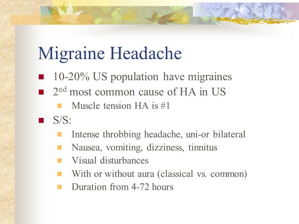 Migraine Headache 10-20% US population have migraines