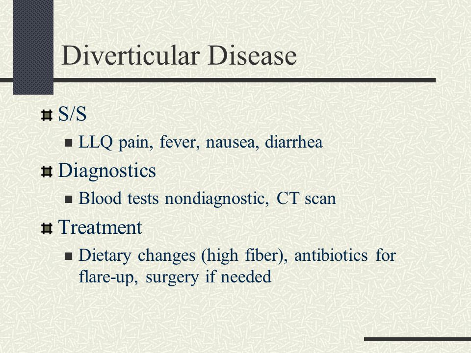 Diverticular Disease S/S Diagnostics Treatment