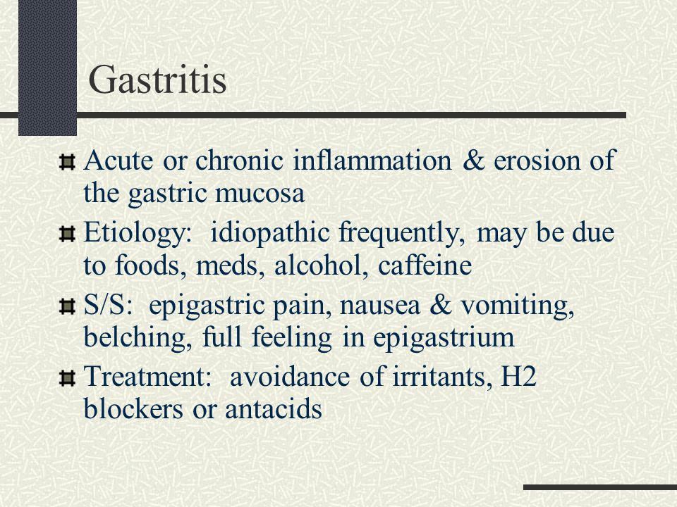 Gastritis Acute or chronic inflammation & erosion of the gastric mucosa.