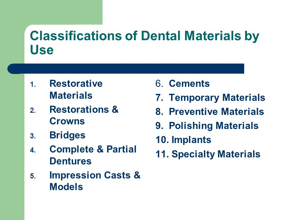Classifications of Dental Materials by Use