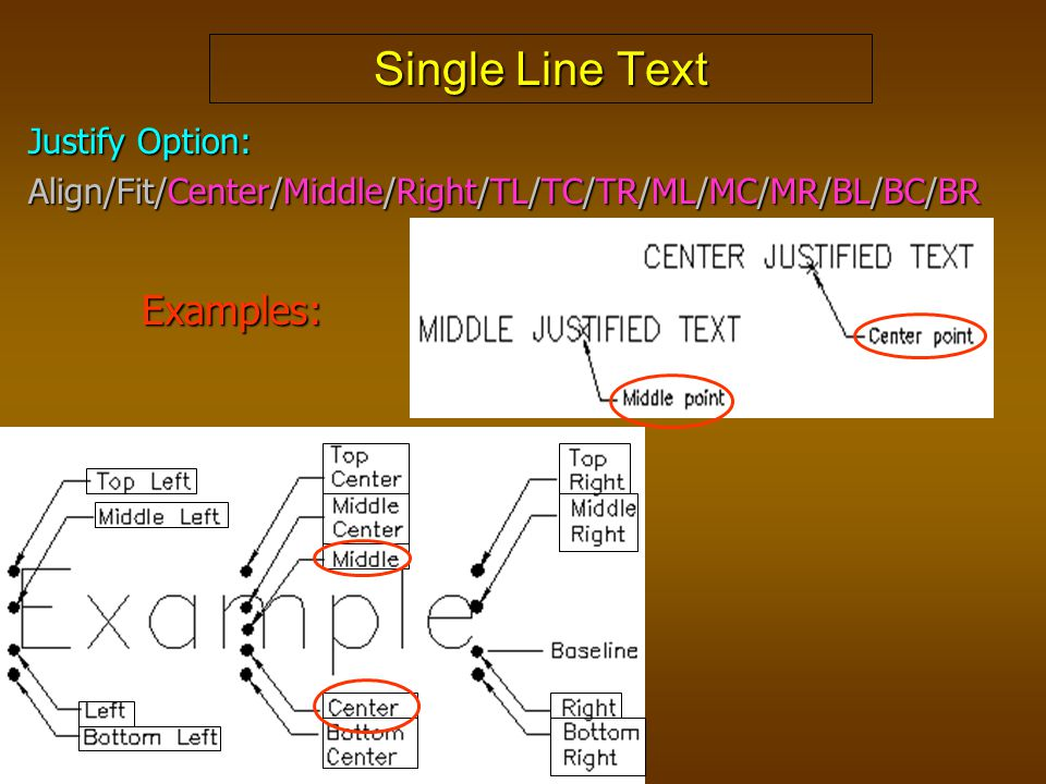Single Line Text Examples: Justify Option: