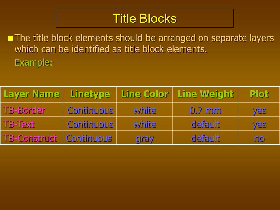 Title Blocks The title block elements should be arranged on separate layers which can be identified as title block elements.