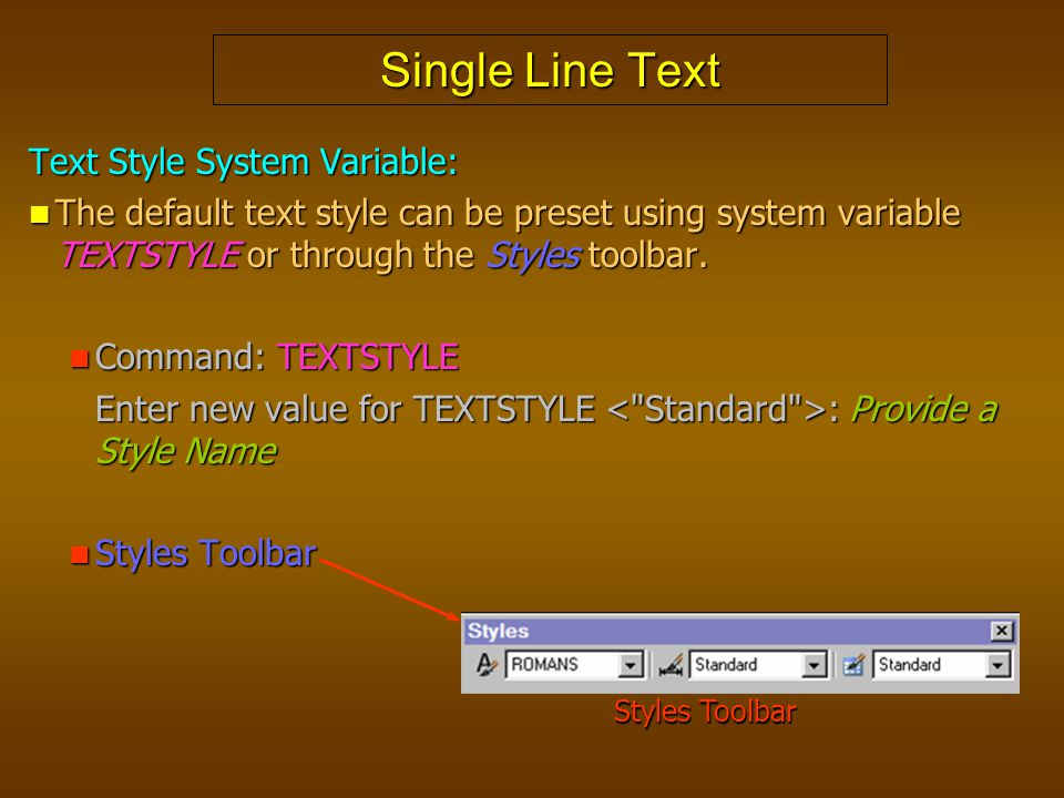 Single Line Text Text Style System Variable: