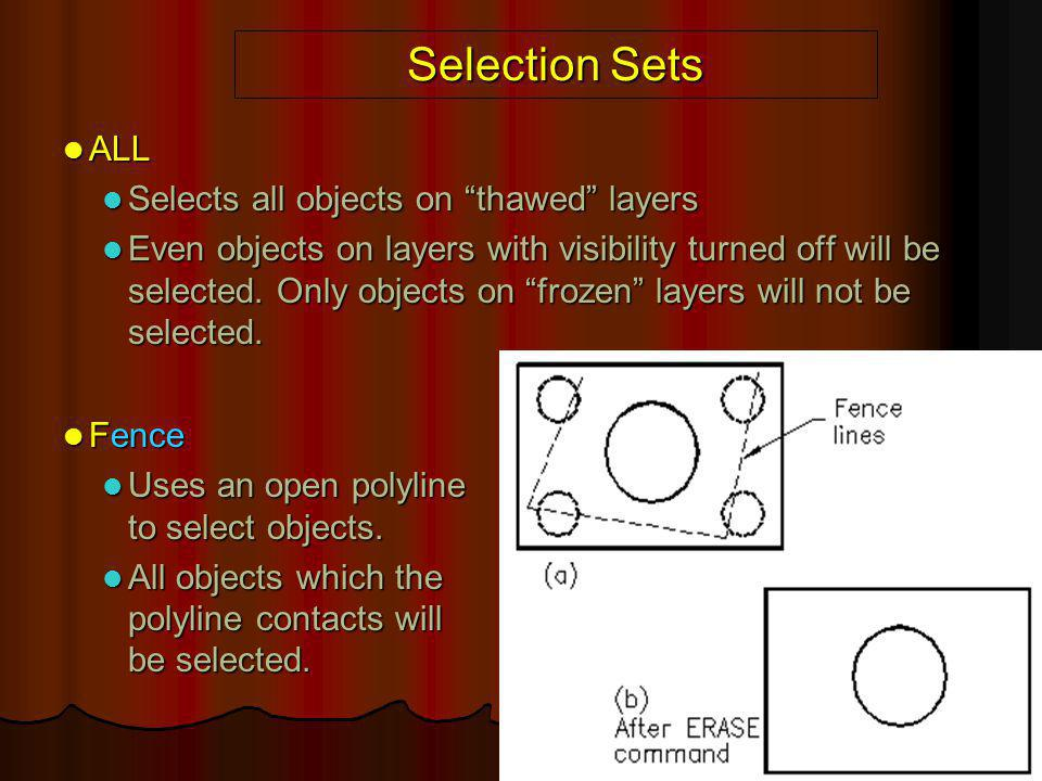 Selection Sets ALL Selects all objects on thawed layers