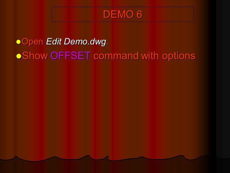 Show OFFSET command with options