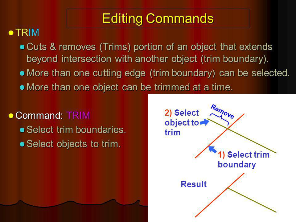 Editing Commands TRIM. Cuts & removes (Trims) portion of an object that extends beyond intersection with another object (trim boundary).