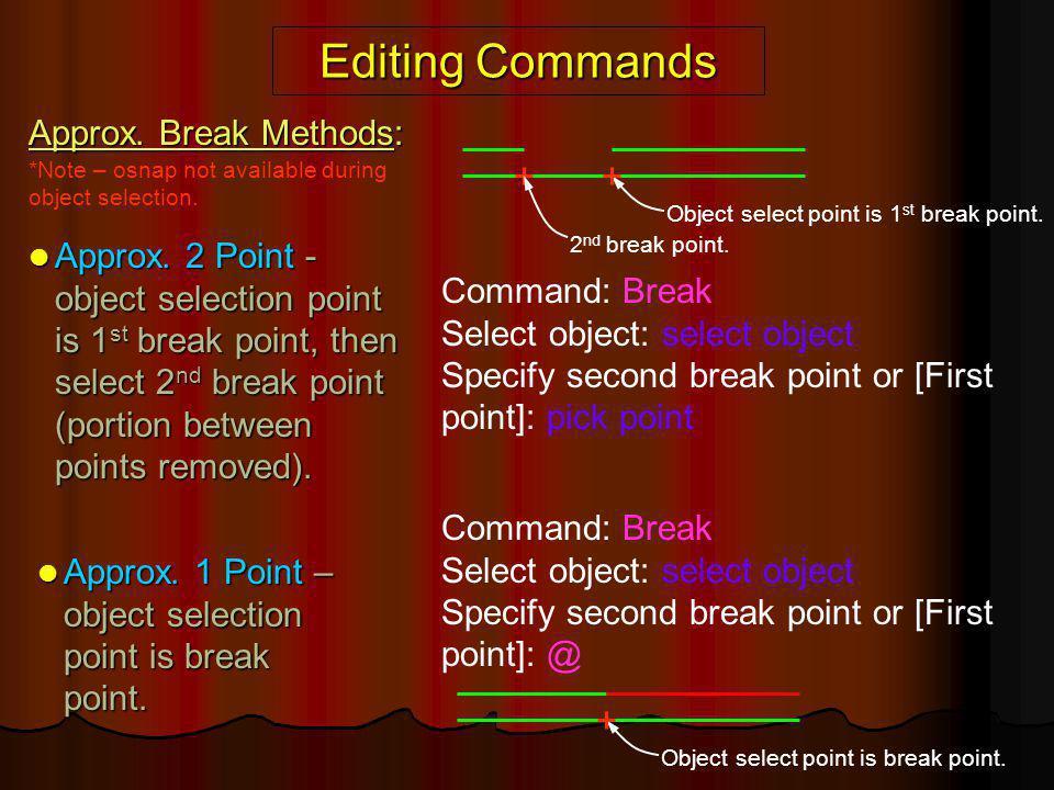Editing Commands Approx. Break Methods: