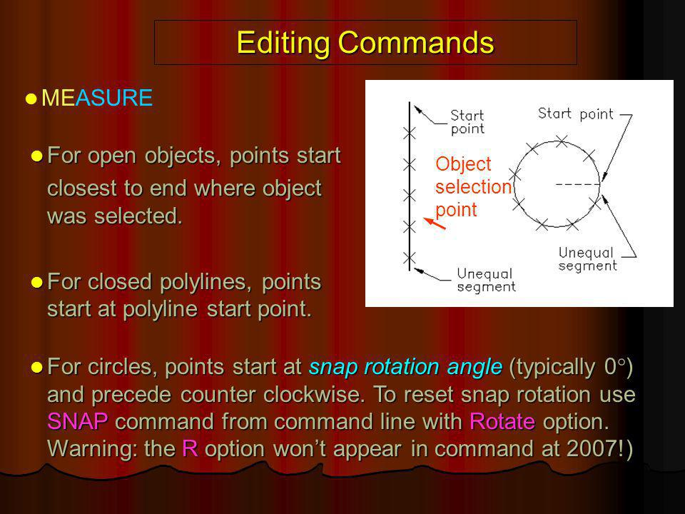 Editing Commands MEASURE For open objects, points start