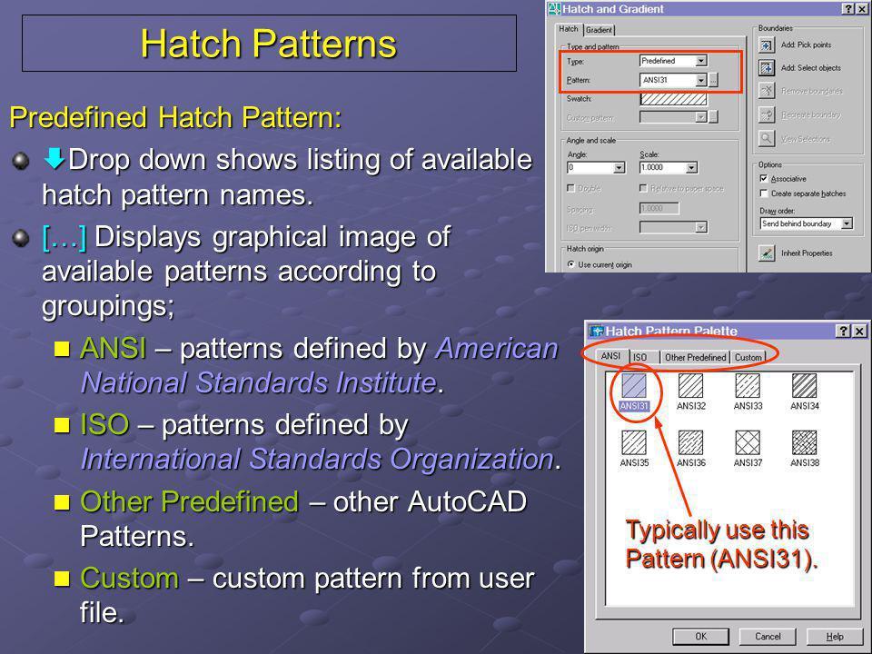 Hatch Patterns Predefined Hatch Pattern: