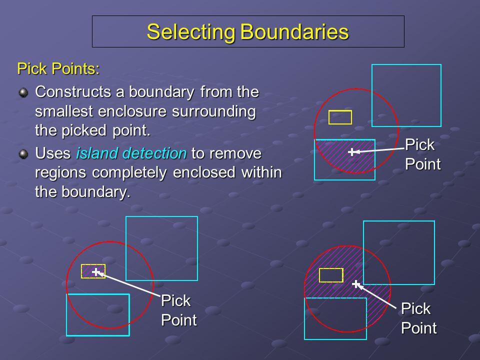 Selecting Boundaries Pick Points: