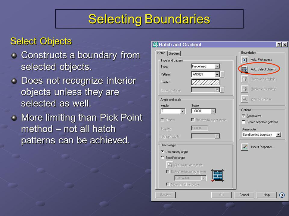 Selecting Boundaries Select Objects