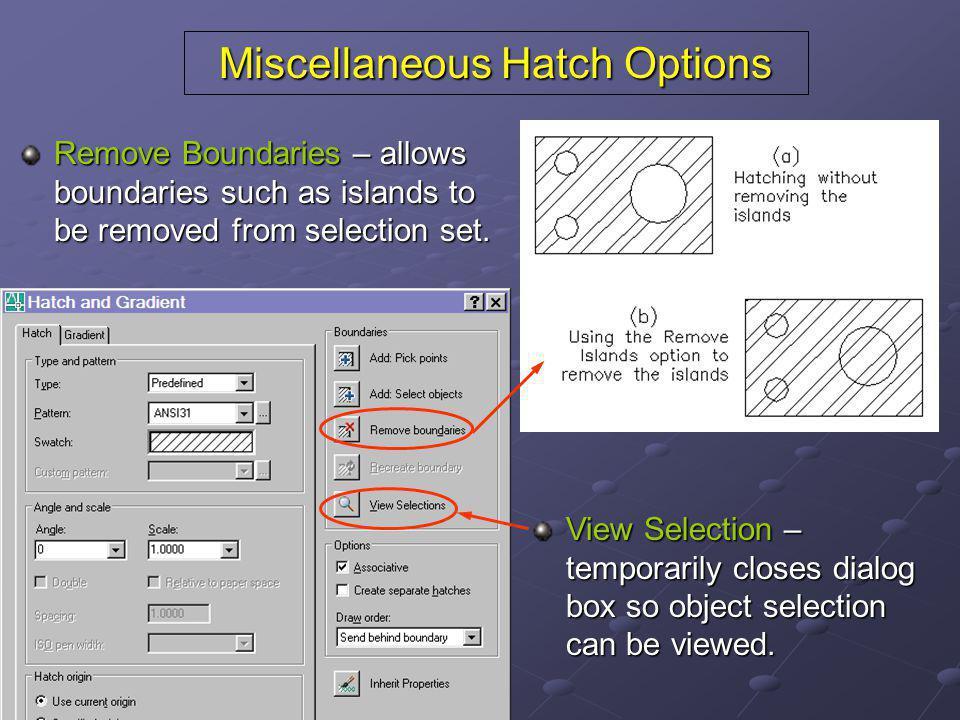 Miscellaneous Hatch Options