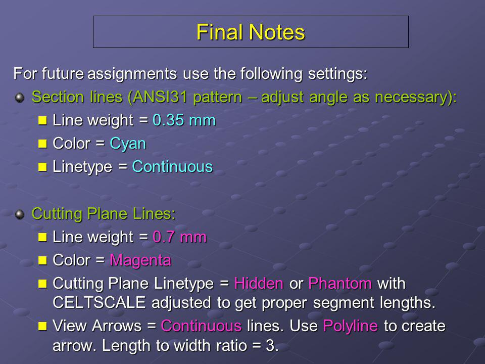 Final Notes For future assignments use the following settings: