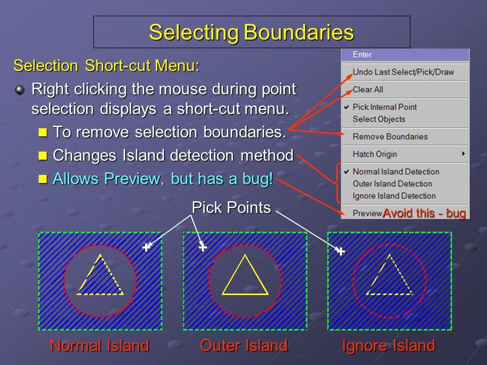 Selecting Boundaries Selection Short-cut Menu: