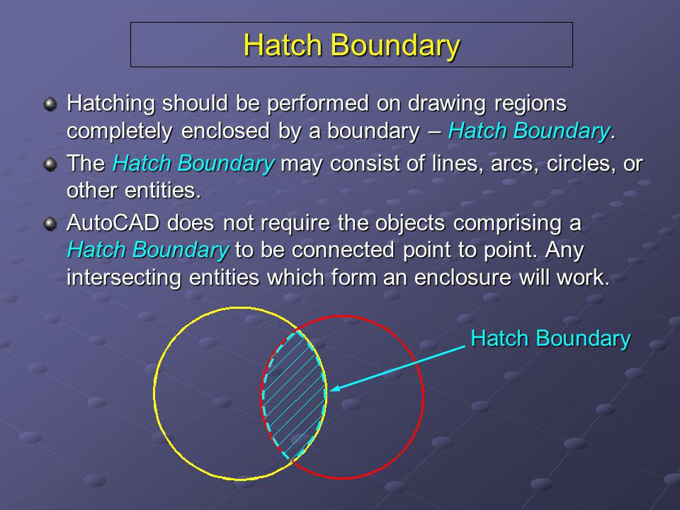 Hatch Boundary Hatching should be performed on drawing regions completely enclosed by a boundary – Hatch Boundary.
