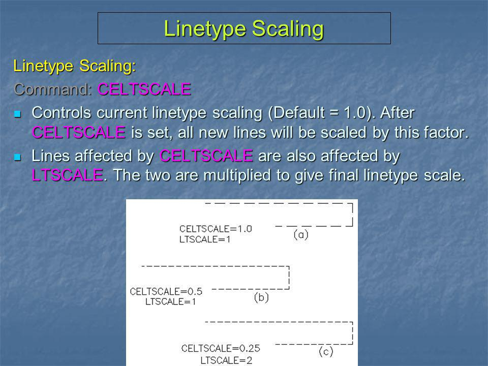Linetype Scaling Linetype Scaling: Command: CELTSCALE